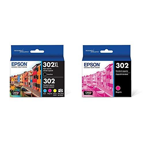 Epson T302XL-BCS Claria Premium Ink Cartridge Multi-Pack - High-Capacity Black and Standard-Capacity Photo Black and Color (CMYPB) & T302 Claria Premium Standard-Capacity Ink Cartridge - Magenta