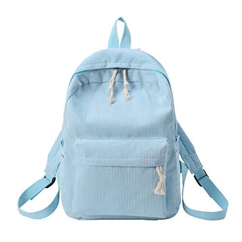 TENDYCOCO Rucksack Cord Bookbag Multifunktions Schultasche für Frauen (Hellblau)