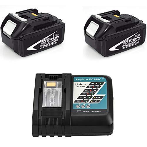 Cargador 7A Rápido de Repuesto con 2 Baterías de 18 V 5.5Ah para Makita 18v Batería BL1850B BL1860 BL1850 BL1840 BL1830 BL1815 LXT-400 con Indicador
