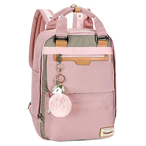 Unicorn Laptop Backpack, Casual Travel Backpacks School Bag Daypack Rucksack, Water Resistant College School Bookbag Fits 14/15 Inch Laptop Notebook (Pink, L)