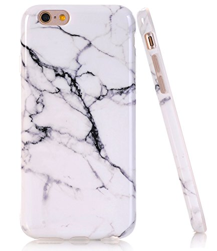 BAISRKE iPhone 6 6s Case, White Marble Creative Design Slim Flexible Soft Silicone Bumper Shockproof Gel TPU Rubber Glossy Skin Cover Case for Apple iPhone 6 6s 4.7 inch [Black]