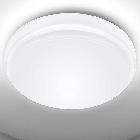 LE Plafonnier LED 24W, Luminaire Plafonnier Étanche IP54 Blanc Froid 6000K 2200LM, Angle de Faisceau 120 °, Plafonnier LED Idéal pour Salle de Bain, Balcon, Couloir, Cuisine, Salon(Φ26.5 * 5cm)