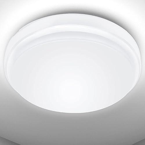 LE Plafonnier LED 24W, Luminaire Plafonnier Étanche IP54 Blanc Froid 6000K 2200LM, Angle de Faisceau 120 °, Plafonnie...