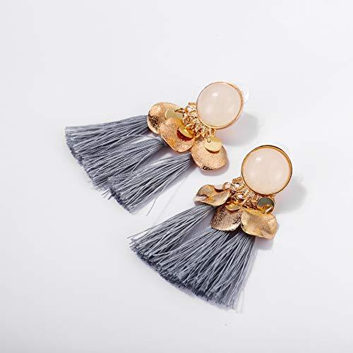 Boheemse legering hars kwast oorbellen, creatieve retro minimalistische vrouwelijke oorbellen, perfect voor vakanties en geschenken,Gray