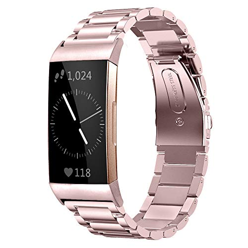 Shangpule Compatible for Fitbit Charge 3 / Fitbit Charge 4 / Fitbit Charge 3 SE Bands, Stainless Steel Metal Replacement Strap Bracelet Wrist Band Large Small (Rose Pink)