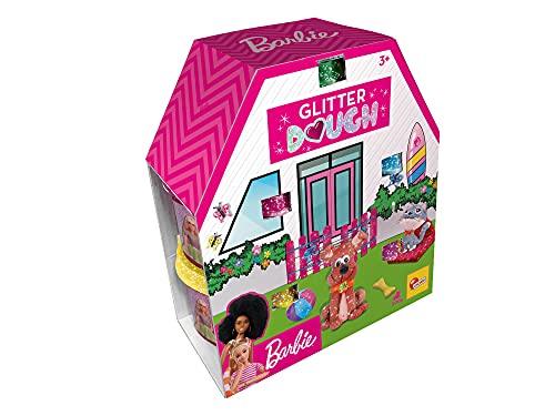 Lisciani, Barbie Glitter Dough Kit Casa, 5 Botes en Forma de corazón, Plastilina con Purpurina, Pack 5 x 100 g, 88850-Juego...