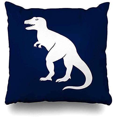 jonycm Fundas De Almohada De Tiro Tyrannosaurus Prehistórico Dinosaurio En Azul Marino Paleontólogo Impreso Funda De Almohada Fundas De Cojín Sofá Sofá Cuadrado 45X45Cm Acogedor Club Liv