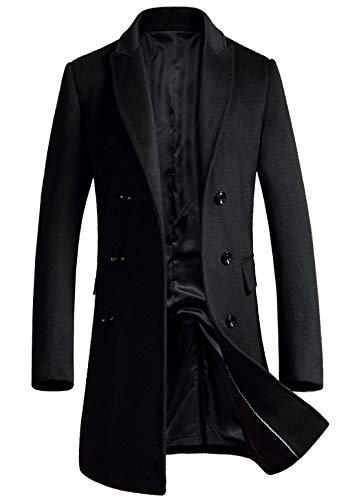 ebossy Men's Wool Blend Full Length Overcoat Single Breasted Long Coat with Flap Pocket (XX-Large, Double-Black)