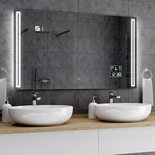 Alasta® Premium Badkamerspiegel met Verlichting - 100x120 cm - Model Roma - Spiegel met Aanraaklichtschakelaar en Weerstation P2
