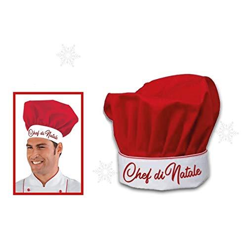 Mood Milano - Cappello da chef rosso con scritta natalizia