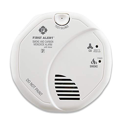 First Alert SCO7CN Combination Smoke and Carbon Monoxide Detector with Voice and Location, Battery Operated , White