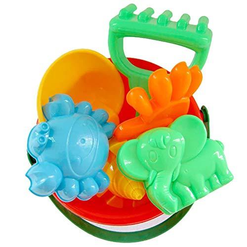 cA0boluoC Juego de 7 juguetes de arena para playa, castillo de arena, pala, rastrillo, juego de pala, juego de juego para verano al aire libre, kit de herramientas para niños y niños, 7 piezas