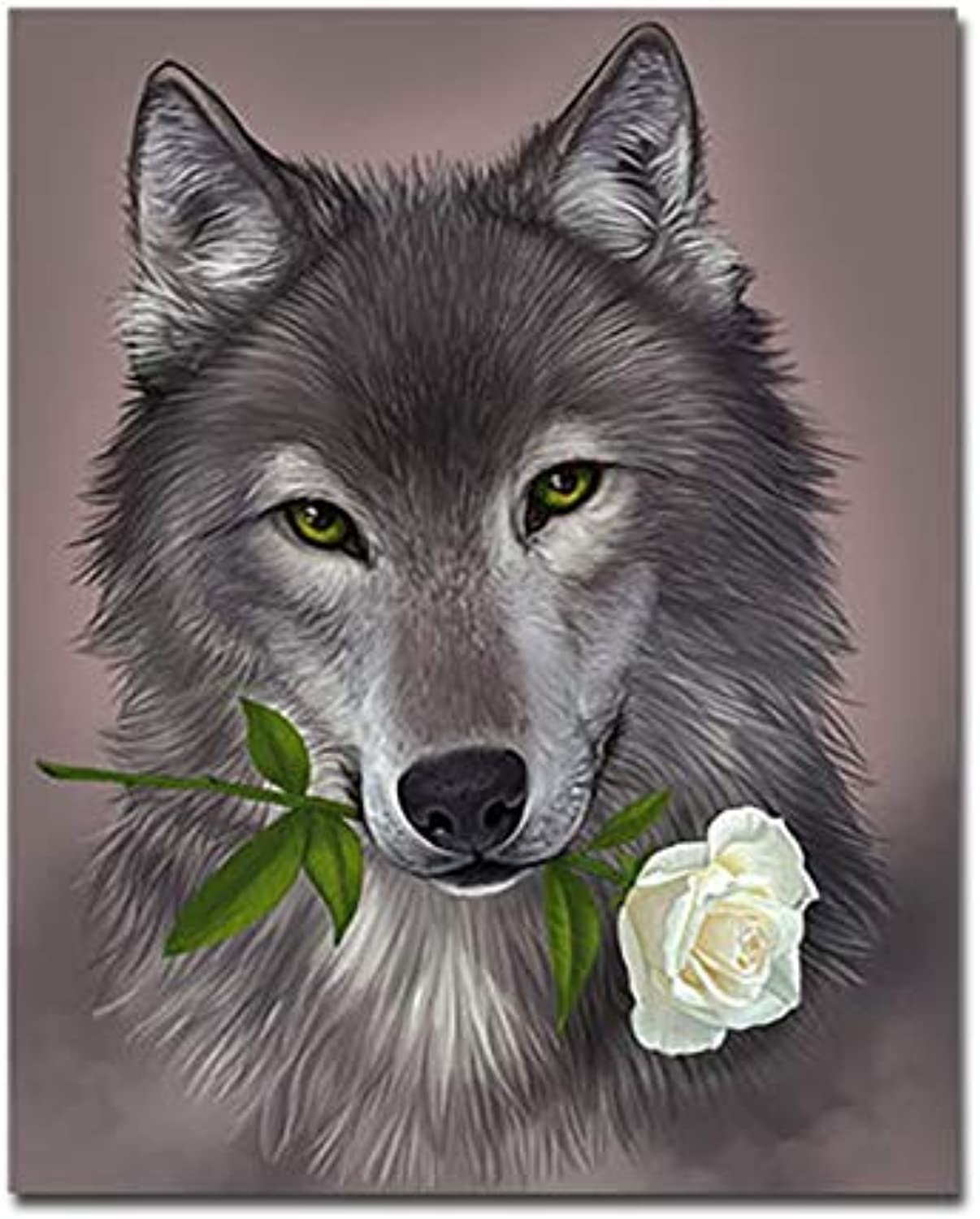 CAYYOU DIY Wolf And pink Digital Painting By Numbers Wall Art Hand Painted coloring Oil Pictures For Living Room Decor Craft Artwork, Framed, 50x60cm