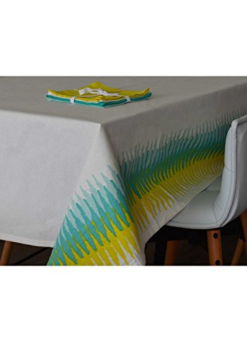 HomeMaison Nappe Rectangulaire Estivale, Coton, Blanc, 250x160 cm