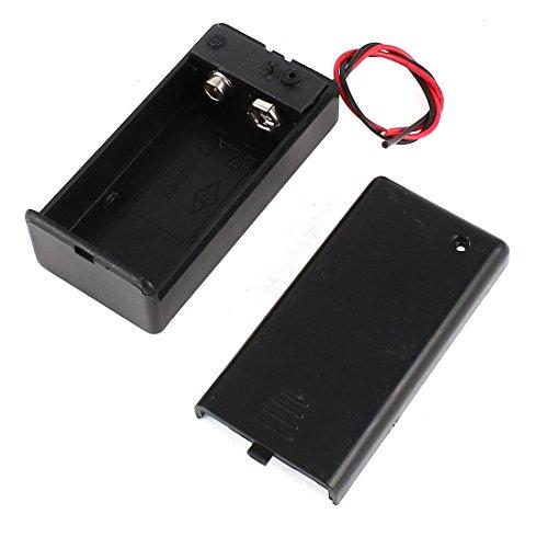 sourcing map Schwarz Kunststoff 9V Batteriehalter Batterie Kasten ON/Off Schalter mit Kappe DE de