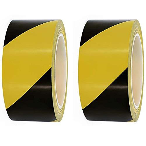 2 rollos 45mm * 20m Cinta de PVC de advertencia de peligro negro y amarillo Para...