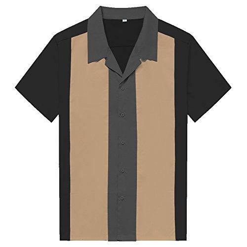 Anchor MSJ Herren 50er Jahre Männliche Kleidung Rockabilly Stil Baumwolle Herren Hemden Kurzarm Fifties Bowling Casual Button-Down Shirts - Schwarz - 3X-Groß