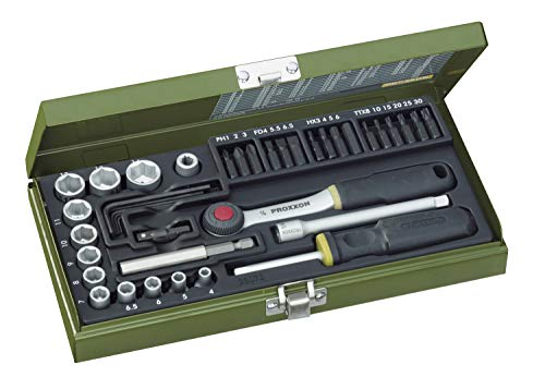 """Proxxon Steckschlüsselsatz, Schraubersatz mit 1/4""""-Umschaltratsche, Schraubendrehergriff und Magnethalter, 39-teiliges Werkzeug-Set mit Stahlkasten, 23070"""