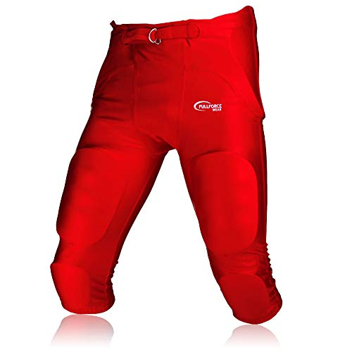 Full Force American Footballhose Crusher 7 Pocket Pad All in One Gamepant, rot, Gr. L