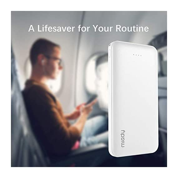 Miady 10000mAh Dual USB Portable Charger Power Bank 5 【3-Pack 10000mAh Power Bank】Three 10000mAh battery packs not only for portable charging but also around the home. Allowing you charge mobile devices without having to be tethered to a plug socket. Each of them fully charges 2.4 times for iPhone X, 3.6 times for iPhone 8 and 2.2 times for Samsung Galaxy S9. 【Dual Output & Input】Each has 2 USB output ports that detect all the connected devices and efficiently distributes the current output up to 5V 2.1A. The USB C and Micro USB ports can fully refill the battery itself in 5 hrs at 5V 2.0A. 【Reliable Li-polymer Cell】Thanks to the Li-polymer battery pack, the charger is much safer than any Li-ion charger. Also, it's lighter and slimer that you can easily carry it around, even on airplanes.