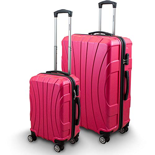 BERWIN® Kofferset M + XL 2-teilig Reisekoffer Trolley Hartschalenkoffer ABS Teleskopgriff Modell Strike (Pink)