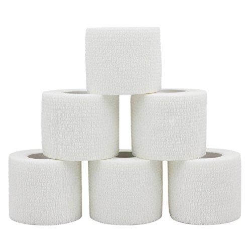 COMOmed selbstklebender verband elastische binde handgelenk bandage pflaster rolle Dog Bandagen Tierische Bandagen Weiß 5 cm X 6 Bände