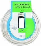 Profiplast PRP572751 - Bobina de cable coaxial para televisión (25 m), color blanco