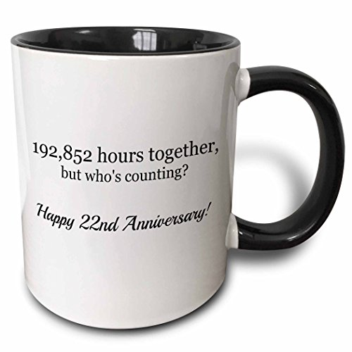 3dRose Happy 22Nd Anniversary-198852 Hours Together Mug, 11 oz, Black