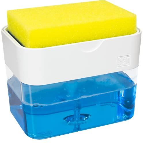 S&T INC. Countertop Dish Soap Pump Dispenser and Sponge Caddy for Kitchen Sink, Matte White