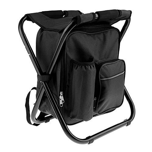 DIYARTS 3 In 1 Outdoor Klapprucksack Stuhl Multifunktionale Klappstuhl Tragbaren Sitz mit Kühltasche für Camping Angeln Wandern Picknick Outdoor-Aktivitäten (Black)