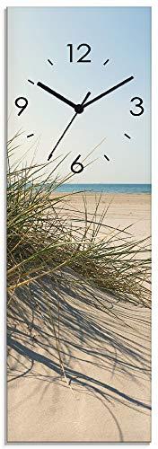 Artland Wanduhr ohne Tickgeräusche Glasuhr mit Motiv Design Quarz lautlos Größe: 20x60 cm Strandgras im Sonnenlicht S9ZI Meer Creme
