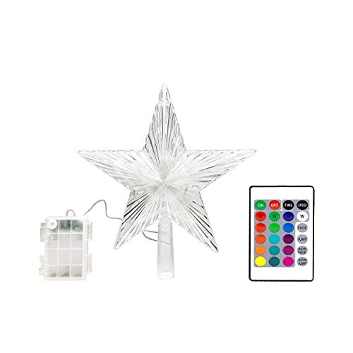 YAGE TALE Christmas Star Tree Topper Lights 8.5inch 10LED Multicolour with Versatile Remote Controller 3AA Battery Powered Great Accessory for Christmas Tree Decorating(Indoor and Outdoor )