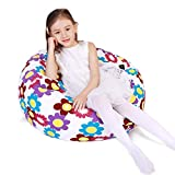 Lukeight Stuffed Animal Storage Bean Bag Chair for Kids, Zipper Storage Bean Bag for Organizing Stuffed Animals, Flower Bean Bag Chair Cover, (No Beans) Large