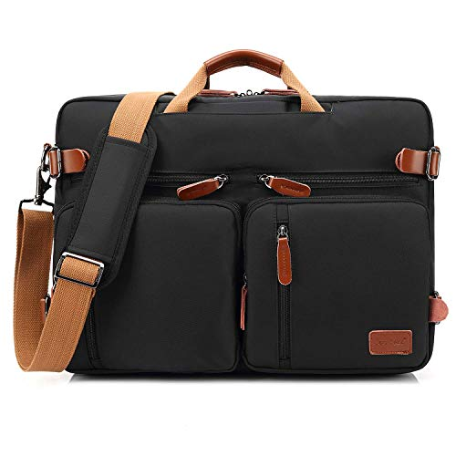 CoolBELL umwandelbar Rucksack Messenger Bag Umhängetasche Laptop Tasche Handtasche Business Aktentasche Multifunktions Reise Rucksack Passend für 17,3 Zoll Laptop/Männer/Frauen(Schwarz)