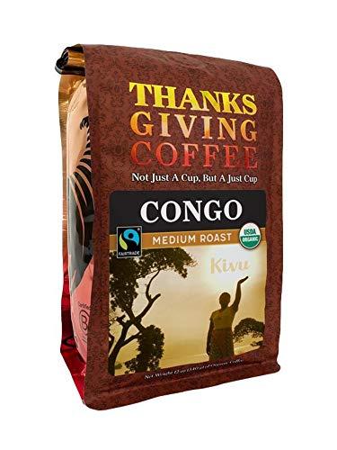 Thanksgiving Coffee 'Congo Kivu Medium Roast' Medium Roasted Fair Trade Organic Whole Bean Coffee - 12 Ounce Bag