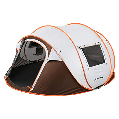 EchoSmile Camping Instant Tent, 4-6 Person Pop Up Tent, Water Resistant Dome Tent, Easy Setup for Camping Hiking and Outdoor, Portable Tent with Carry Bag, for 3 Seasons (White&Brown (4-6 Person)