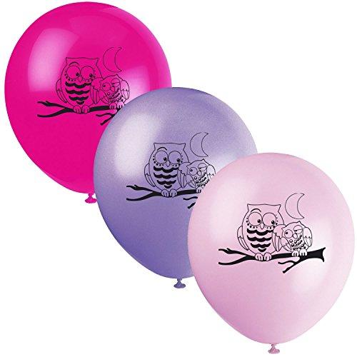Unbekannt 8-teiliges Luftballon-Set * EULEN * // Kindergeburtstag Kinder Geburtstag Feier Set Mottoparty Partygeschirr Deko Fest Party Motto Deko Luftballons Ballons Owl Eule Waldtiere