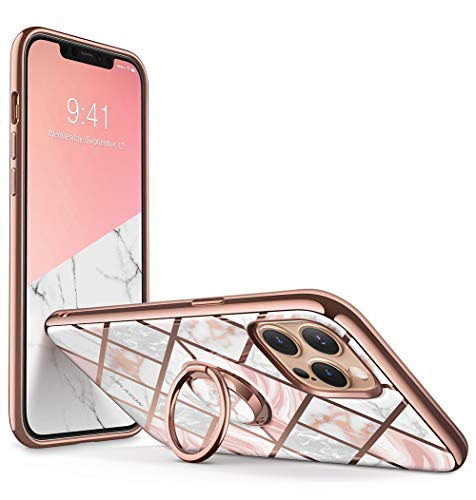 i-Blason Cosmo Snap Case Designed for iPhone 12 Pro Max (6.7 Inch), Slim with Built-in 360° Rotatable Ring Holder Kickstand Supports Car Mount (Marble)