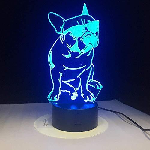 Stimmungslampe 7 Farbe Lightligh Tragen Sonnenbrille Hund Nachtlicht Geburtstag Kinder Halloween Mädchen Bdesk Dekoration