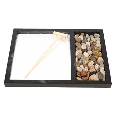 perfk Zen Garden Sand Kit Decoración de Regalo de Oficina Rastrillo Feng Shui Piedras Naturales # 1