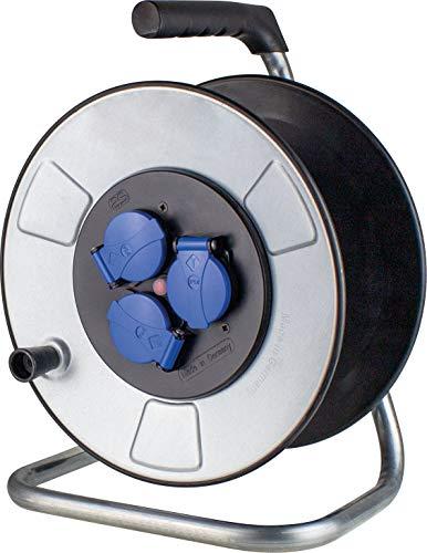 as - Schwabe Metall Leer-Kabeltrommel ohne Leitung – für ca. 50 m Stromkabel-Verlängerungskabel-Trommel mit 3 Schutzkontakt-Steckdosen – IP44 – Made in Germany – Silber I 10315