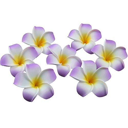 TININNA 100 Pcs Plumeria Mousse Deco Galets Hawaïen Mousse Fleur de Frangipanier pour Mariage Décoration Fête Violet
