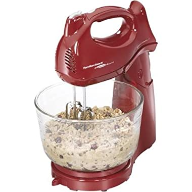 Hamilton Beach Power Deluxe 4-quart Red Stand Mixer Doubles As a Hand Mixer 6 Speeds with Quickburst