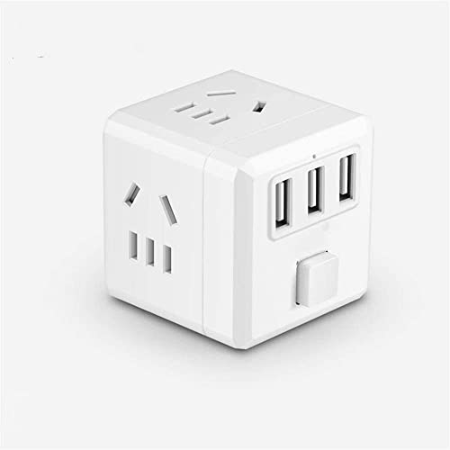 DEAMOS Power Board Strip Surge Protector with 3 USB Ports and 3 AC Outlets, Wall Adapater Cube Spacing Charging Stati...
