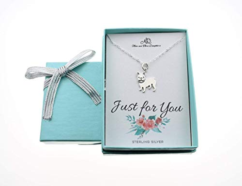 French Bulldog Necklace on an 18 Inch Sterling Silver Cable Chain. Dog Gifts. Frenchy Dog