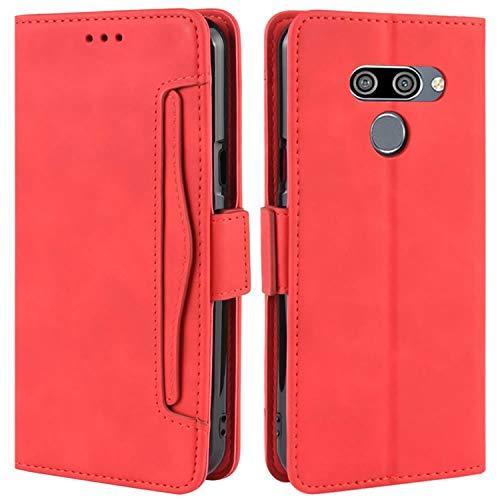 HualuBro Handyhülle für LG Q60 Hülle, LG K50 Hülle Leder, Flip Hülle Cover Stoßfest Klapphülle Handytasche Schutzhülle für LG Q60 / LG K50 Tasche (Rot)