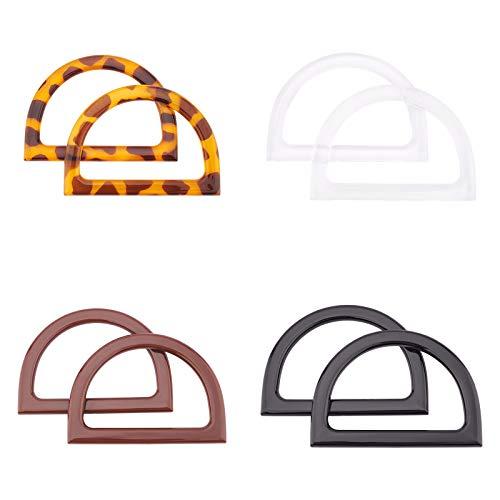 PandaHall Asas de repuesto para bolsos de mano con forma de D de 4 colores, 8 unidades, diseño de leopardo, para bolsos y bolsos hechos a mano