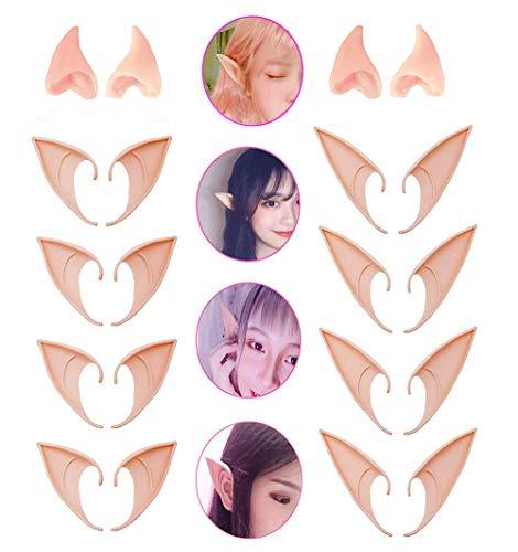 Kbraveo 10Pair Fairy Pixie Elf Ears,Latex Fairy Pixie Elf,Cosplay Ears for Cosplay Halloween Christmas Any Themed Party