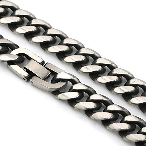 [silver KYASYA]STAINLESS STEEL 喜平チェーンネックレス マイアミキューバンリンク 喜平ネックレス 中折式 (アンティークシルバー, 幅13mm、長さ50cm)