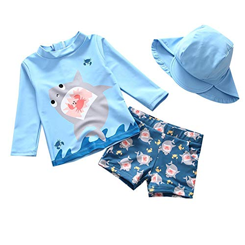 BAOPTEIL Baby Toddler Boys Two Pieces Swimsuit Sets Blue Shark Bathing Suit Rash Guards Sunsuit Swimwear with Hat UPF 50 FBA